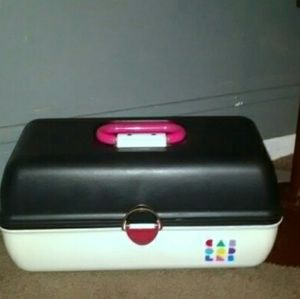 Caboodles Vintage White Black Makeup Case
